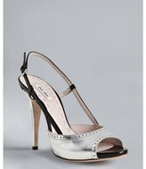Miu Miu Miu silver leather slingback peep toe pumps
