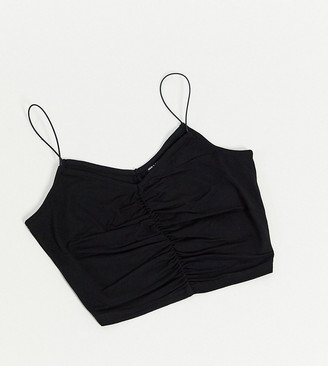 ASOS DESIGN Petite crop cami with ruched front and skinny straps in black