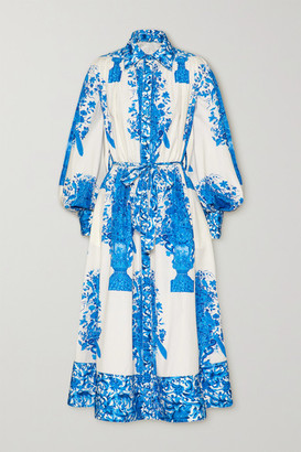 Valentino Belted Printed Cotton-poplin Midi Shirt Dress - Ivory