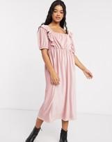 Asos Design DESIGN square neck cord midi dress in pink