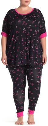 Kensie Printed Knit Top & Pants Pajama Set
