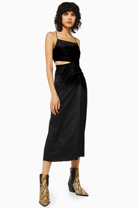 Topshop Black Jacquard Cut Out Midi Dress