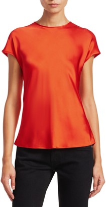 Helmut Lang Double Satin Cap-Sleeve Top