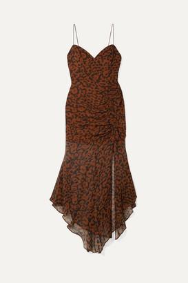 Nicholas Ruched Leopard-print Silk-chiffon Dress - Leopard print