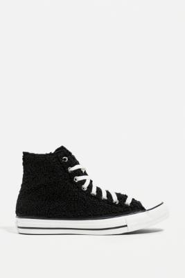 Converse Chuck Taylor All Star Black Teddy High Top Trainers - Black UK 8 at Urban Outfitters