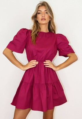 Missguided Burgundy Puff Sleeve Smock Dress