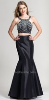 Dave and Johnny Embellished Halter Two Piece Mermaid Prom Dress