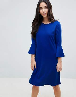 B.young Flared Sleeve Skater Dress-Blue