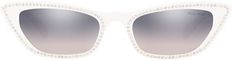 Miu Miu Cat Eye Embellished Sunglasses