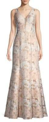 Aidan Mattox Women's Floral Jacquard Gown - Ivory Gold - Size 0