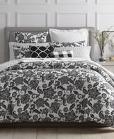 Charter Club Damask Designs Black Floral 3-Pc. Full/Queen Duvet Set