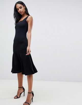 Club L London midi dress with square neck and peplum hem-Black