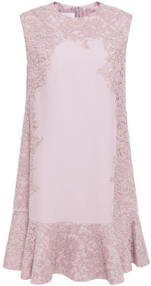 Valentino Fluted Lace-appliqued Cady Mini Dress