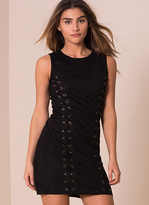 Missy Empire Avril Black Suede Eyelet Detail Bodycon Dress