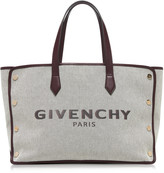 Givenchy Cabas Studded Leather-Trimmed Canvas Bag