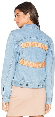 Understated Leather Go Sit on a Cactus Denim Jacket. - size L (also