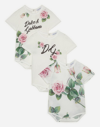 Dolce & Gabbana Gift Set Of 3 Bodysuits In Jersey With Tropical Rose Print