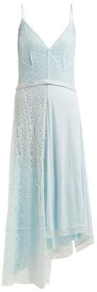 Balenciaga Asymmetric Tie-waist Lace Slip Dress - Womens - Light Blue