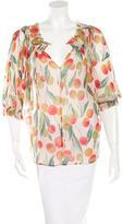 Diane von Furstenberg Mango Print Silk Blouse
