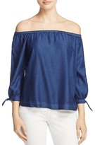 Paige Antonia Chambray Off-the-Shoulder Top