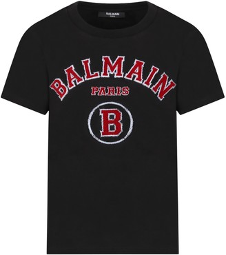 Balmain Black T-shirt For Boy With Logo