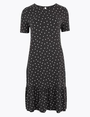 Marks and Spencer Polka Dot Jersey Swing Mini Dress