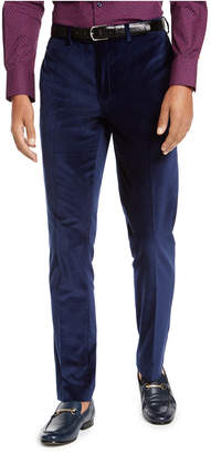 Tallia Men Slim-Fit Blue Velvet Suit Pants
