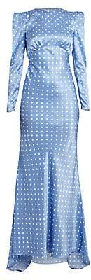 Alessandra Rich Women's Dressing For Pleasure Satin Polka Dot Gown
