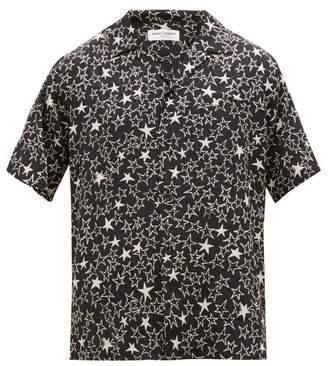 Saint Laurent Star-print Jacquard Silk Shirt - Mens - Black White