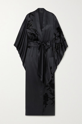 Carine Gilson Belted Appliqued Embroidered Silk-satin Robe - Black