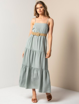 Forever New Tina Petite Tiered Maxi Dress - Gentle Sage - 10