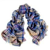 Black Blue and Mustard Oversized Check Cashmere Scarf