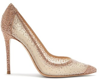 Gianvito Rossi Crystal-embellished Organza Pumps - Gold