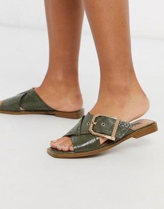 Topshop buckled sandal in khaki