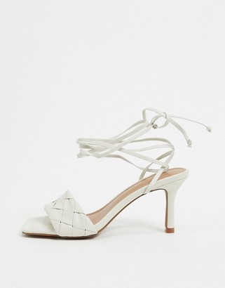 Who What Wear Meara woven tie up heeled sandals in white leather