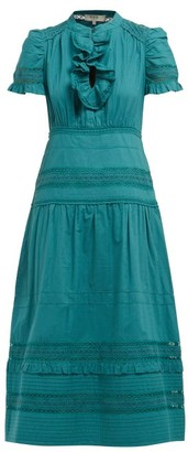 Sea Lilli Ruffled Cotton Broderie-anglaise Midi Dress - Dark Green