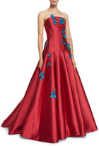Monique Lhuillier Floral-Appliqué Strapless A-Line Gown, Rose Red