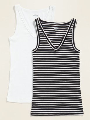 Old Navy Slim-Fit Rib-Knit V-Neck Tank Top 2-Pack for Women