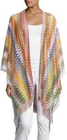 Missoni Zigzag Open-Front Cape, Purple/Multicolor