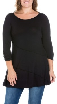 24seven Comfort Apparel Women's Plus Size Ruched Sleeves Swing Tunic Top