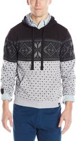 Southpole Men's Hooded Pull Over Fleece with All Over Nordic Mono Patterns