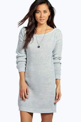 boohoo Slash Neck Marl Knit Jumper Dress