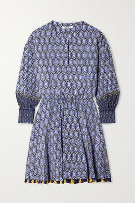 Derek Lam 10 Crosby Cassia Tasseled Silk Crepe De Chine Mini Dress - Blue