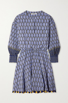 Derek Lam 10 Crosby Cassia Tasseled Silk Crepe De Chine Mini Dress - Blue