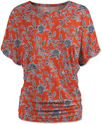 Udear UDEAR Women's Blouses Print - Orange Floral Ruched Dolman Top - Women & Plus
