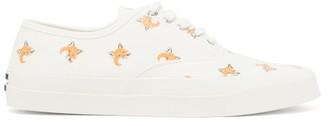 MAISON KITSUNÉ Fox Head-print Cotton-canvas Trainers - White Multi