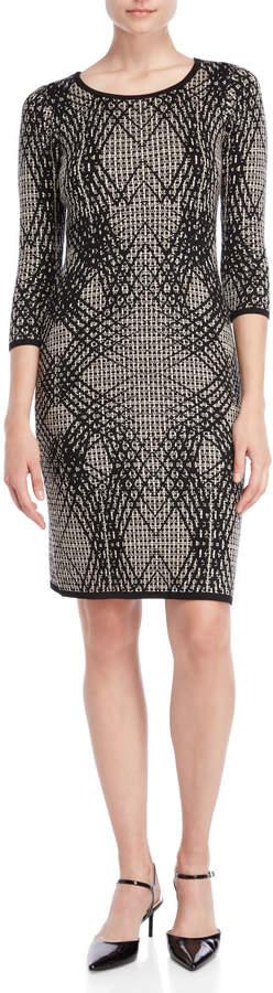Taylor Patterned Sheath Sweater Dress