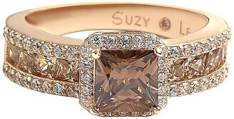 Suzy Levian 14K Rose Gold Plated Sterling Silver White CZ Halo & Brown Princess-Cut CZ Bridal Ring
