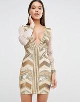 Missguided Plunge Premium Embellished Mini Dress