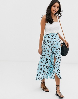 Asos DESIGN wrap maxi skirt with tie in floral print